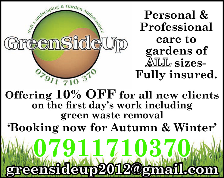 Personal & Professional care to gardens of ALL sizesFully insured. Offering 10% OFF for all new clients on the first day's work including green waste removal  'Booking now for Autumn & Winter'  07911710370  greensideup2012@gmail.com