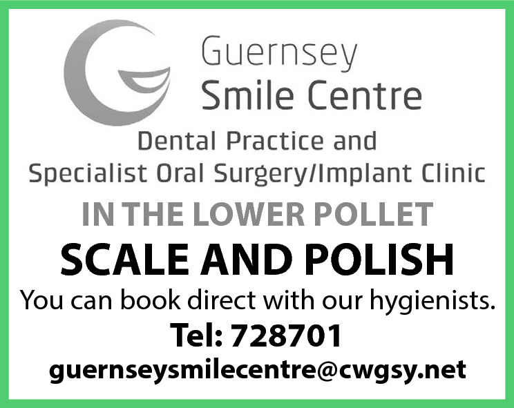 IN THE LOWER POLLET  SCALE AND POLISH  You can book direct with our hygienists.  Tel: 728701  guernseysmilecentre@cwgsy.net
