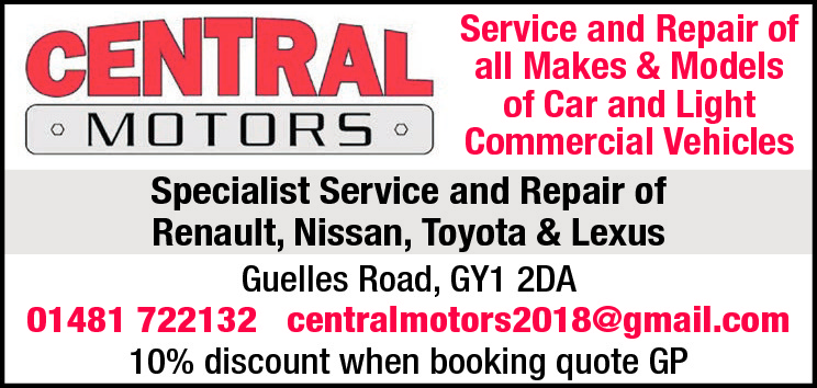 Service and Repair of all Makes & Models of Car and Light Commercial Vehicles Specialist Service and Repair of Renault, Nissan, Toyota & Lexus Guelles Road, GY1 2DA 01481 722132 centralmotors2018@gmail.com 10% discount when booking quote GP
