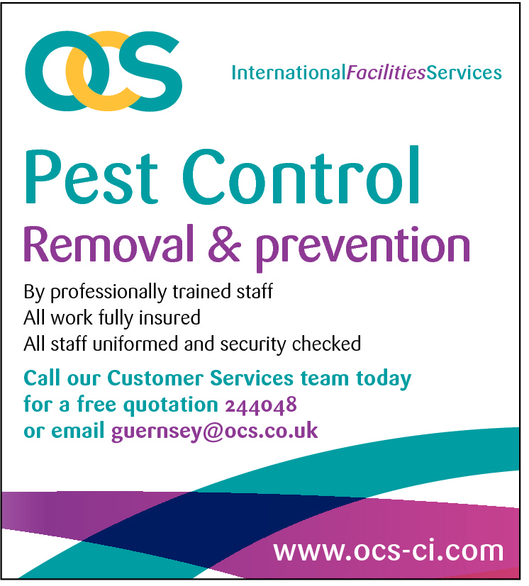 InternationalFacilitiesServices  Pest Control  Removal & prevention By professionally trained staff All work fully insured All staff uniformed and security checked  Call our Customer Services team today for a free quotation 244048 or email guernsey@ocs.co.uk  www.ocs-ci.com