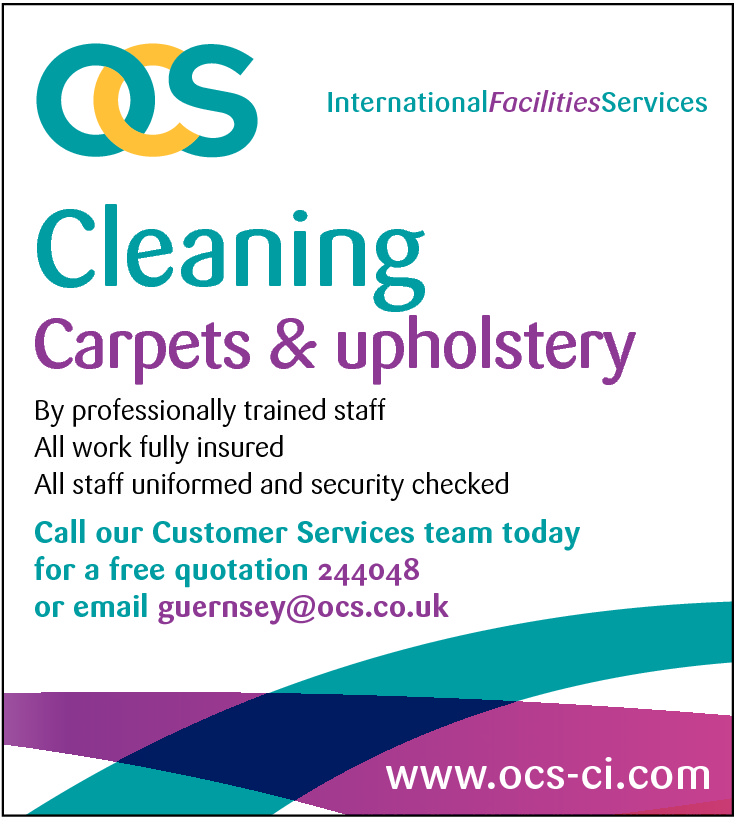 InternationalFacilitiesServices  Cleaning  Carpets & upholstery By professionally trained staff All work fully insured All staff uniformed and security checked  Call our Customer Services team today for a free quotation 244048 or email guernsey@ocs.co.uk  www.ocs-ci.com