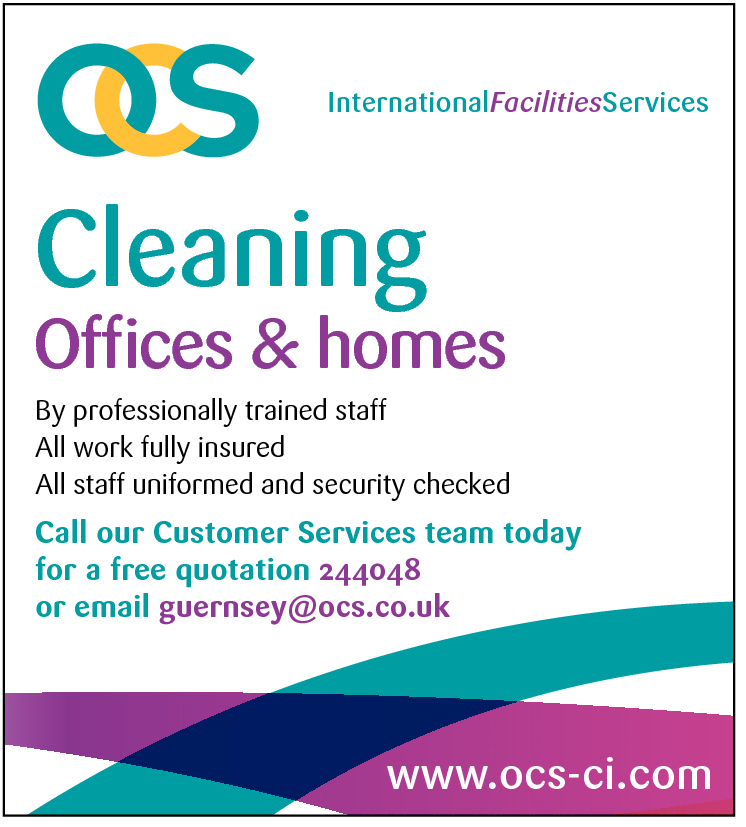 InternationalFacilitiesServices  Cleaning  Offices & homes  By professionally trained staff All work fully insured All staff uniformed and security checked  Call our Customer Services team today for a free quotation 244048 or email guernsey@ocs.co.uk  www.ocs-ci.com