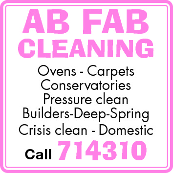 AB FAB  CLEANING Ovens - Carpets Conservatories Pressure clean Builders-Deep-Spring Crisis clean - Domestic Call  714310