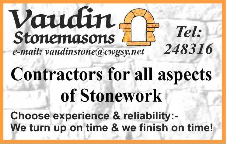 Stonemasons  e-mail: vaudinstone@cwgsy.net  Tel: 248316 Fontaine Vinery GY2 4DP  BLECK FRYDAY  Open to public Saturday mornings until Xmas or by appointment  10% Discount on granite mushrooms, ornaments and yard stock. Conditions apply