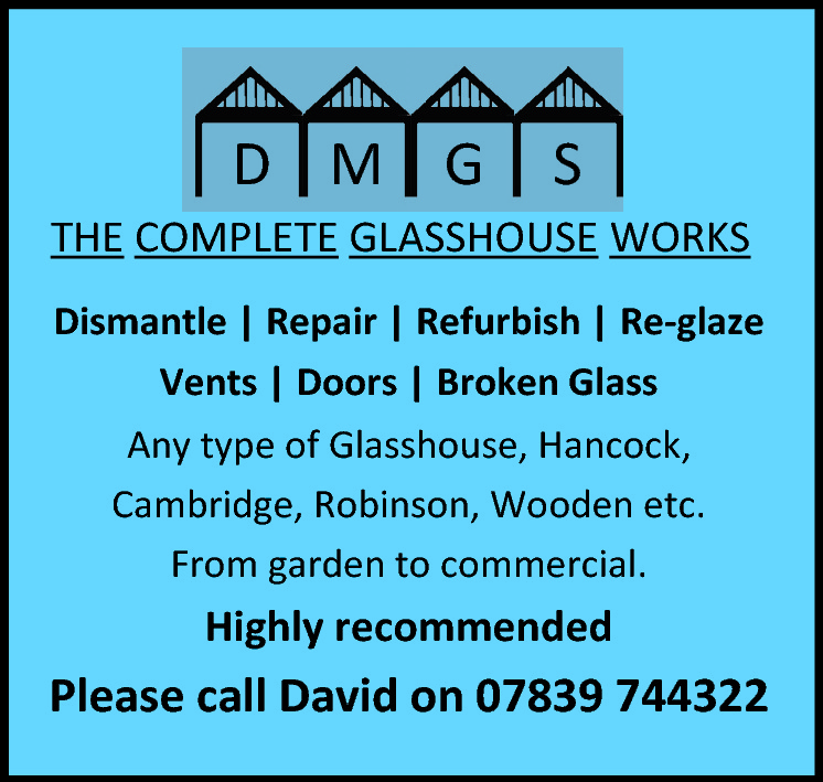 D M G  S  THE COMPLETE GLASSHOUSE WORKS Dismantle