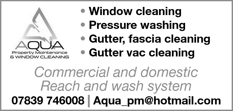 • Window cleaning • Pressure washing • Gutter, fascia cleaning • Gutter vac cleaning  Commercial and domestic Reach and wash system  07839 746008 Aqua_pm@hotmail.com