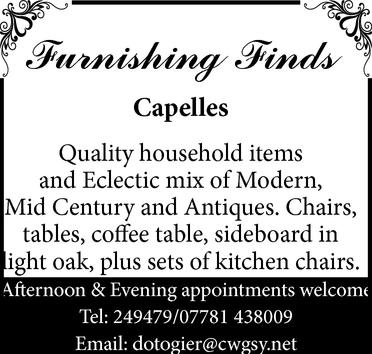 Furnishing Finds Capelles  STILL TRADING Quality household items and Eclectic mix of Modern, Mid Century and Antiques. Afternoon & Evening appointments welcome Tel: 249479/07781 438009