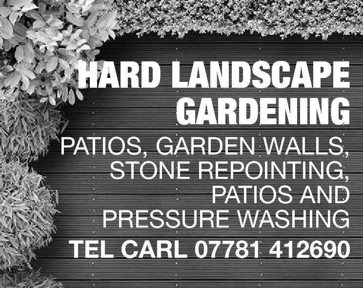 HARD LANDSCAPE GARDENING  PATIOS, GARDEN WALLS, STONE REPOINTING, PATIOS AND PRESSURE WASHING TEL CARL 07781 412690