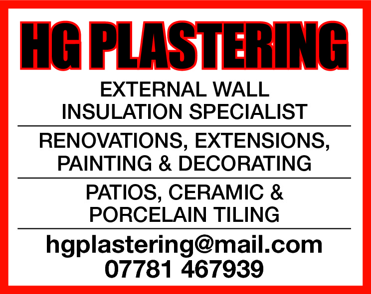 HG PLASTERING EXTERNAL WALL INSULATION SPECIALIST RENOVATIONS, EXTENSIONS, PAINTING & DECORATING PATIOS, CERAMIC & PORCELAIN TILING  hgplastering@mail.com 07781 467939