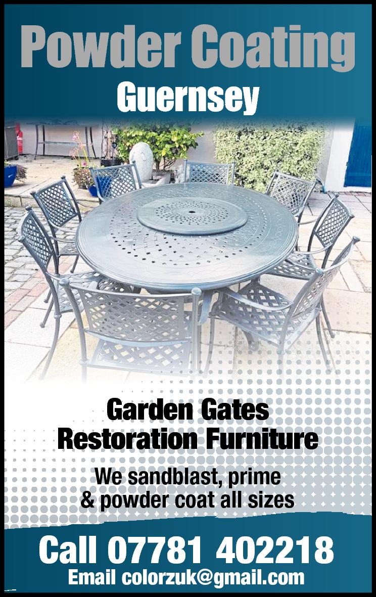 Powder Coating Guernsey y  Garden Gates Restoration Furniture We sandblast, prime & powder coat all sizes  Call 07781 402218 Email colorzuk@gmail.com