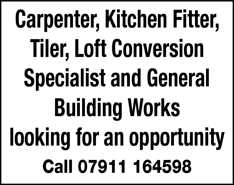 Carpenter, Kitchen Fitter, Tiler, Loft Conversion Specialist and General Building Works looking for an opportunity Call 07911 164598
