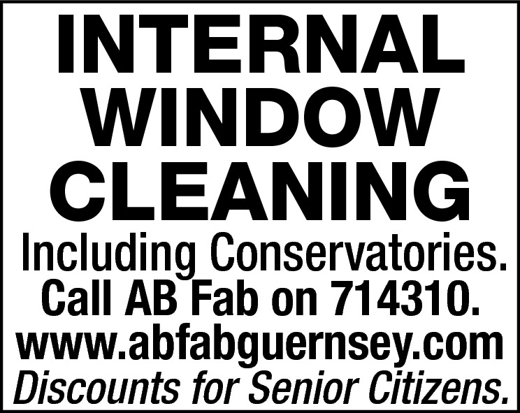 INTERNAL WINDOW CLEANING  Including Conservatories.  Call AB Fab on 714310. www.abfabguernsey.com  Discounts for Senior Citizens.