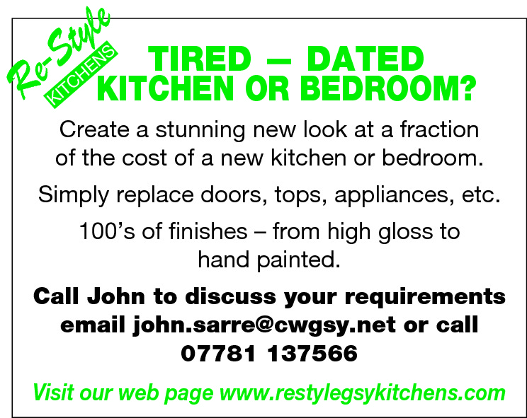 le  ty e-S  R  TIRED — DATED KITCHEN OR BEDROOM? S  EN  H TC  KI  Create a stunning new look at a fraction of the cost of a new kitchen or bedroom.  Simply replace doors, tops, appliances, etc. 100's of finishes – from high gloss to hand painted. Call John to discuss your requirements email john.sarre@cwgsy.net or call 07781 137566 Visit our web page www.restylegsykitchens.com
